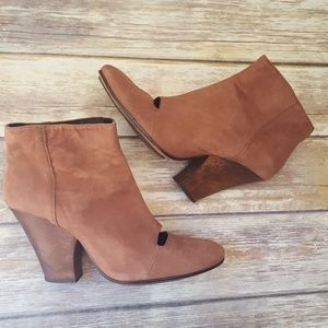 Beautiful Brown Leather Booties With Wood Heel